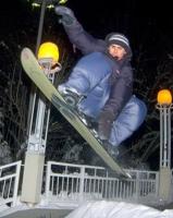 Сноуборд. Ночной прыжок.