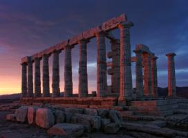 Закат у храма Посейдона