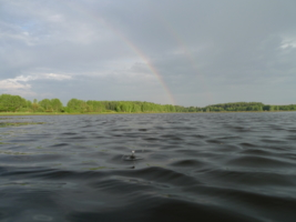 Две радуги и первая капля дождя.