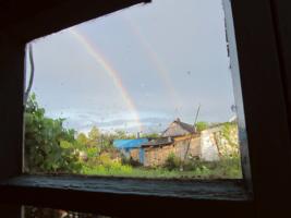 Деревенское окошко. После дождя.