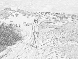 "гравюра "" девушка на пляже """