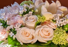 Розы, гортензия и лилии