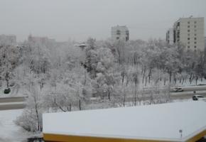 Зимний день. Вид из офисного окна.