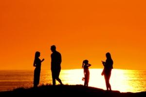 Семья на закате.