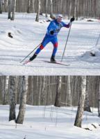 Лыжник и зимний пейзаж