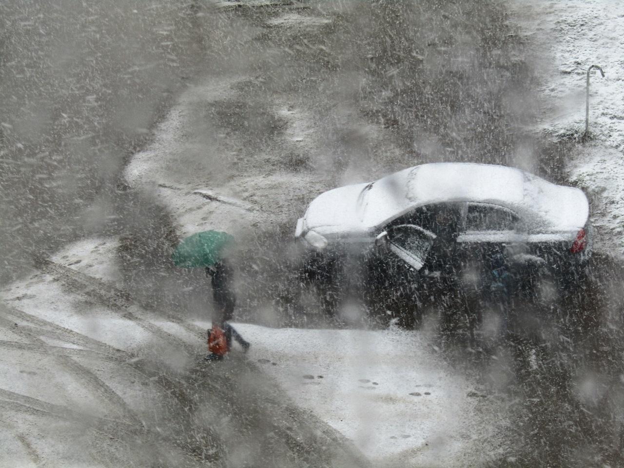 Под зонтом. Картина снегом.