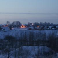 зимний вечер в деревеньке