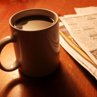 Газетка с кофе...