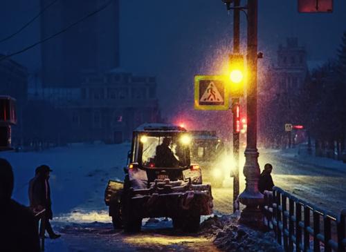 Снегопад в городе...